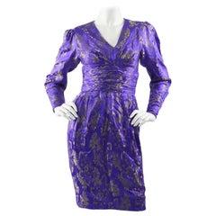Emanuel Ungaro Blue Silk Brocade Dress