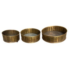 Embossed Brass Cachepots, Group of 3, Italy, 1970s