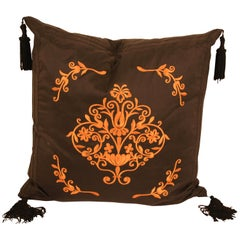Embroidered Black Silk Decorative Throw Pillow with Tassels