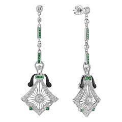 Emerald Black Enamel Diamond 14 Karat White Gold Earrings