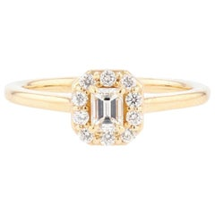 Emerald Cut Diamond 14 Karat Yellow Gold Engagement Ring