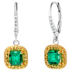 Emerald Cut Emerald Diamond Drop Hoop Cluster Earrings Weighing 2.49 Carat