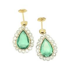 Emerald Diamond 18 Karat Gold Cluster Earrings