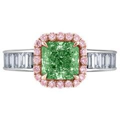 Emilio Jewelry GIA Certified Natural Fancy Green Diamond Ring