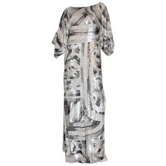 Emilio Pucci Embroidered Silk Evening Caftan Maxi Dress Gown