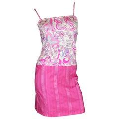 Emilio Pucci Hot Pink Signature Print Silk Top Skirt Suit Ensemble Set As Dress