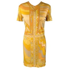 EMILIO PUCCI Vintage Size 6 Yellow Print Silk Shift Dress
