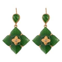 Emma Chapman Aventurine Diamond Gold Plate Drop Earrings