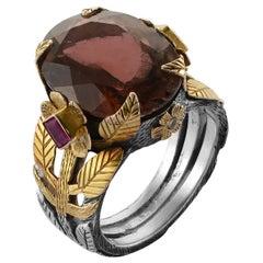 Emma Chapman Tourmaline Ruby Diamond 18 Karat Gold Cocktail Ring
