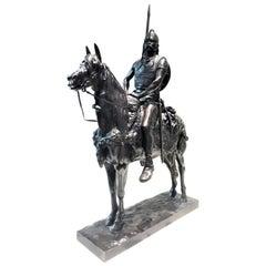 Emmanuel Frémiet, Antique French Bronze of Gallic Chief on Horseback, circa 1880