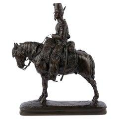 Emmanuel Fremiet Antique French Bronze Sculpture of a Soldier on Horseback