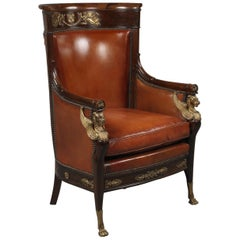 Empire Style Gilt-Bronze Mounted Mahogany Desk Chair, French, circa 1880