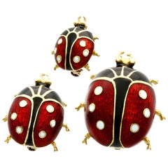 Enamel and 18 Karat Yellow Gold Ladybird Brooches, Vintage, 1980