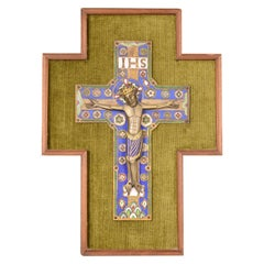 Enamel Plaque with Crucified Christ, After Limoges Models, 20th Century