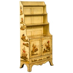 English 1870s Chinoiserie Waterfall Bookcase with Soft Yellow Painted Finish