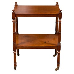 English 1880s Mahogany Trolley with Turned Legs, Lower Shelf and Casters