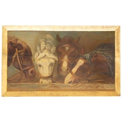 English 1900s Oil on Board Painting Depicting Horses Feeding from a Trough