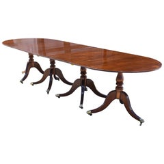 English Antique Regency Style Mahogany Pedestal Dining Table