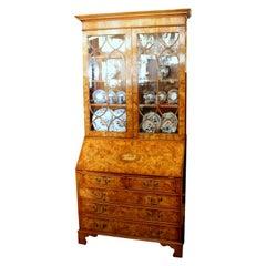 English Bench-Made Inlaid Burr Elm Chippendale Style Bureau Bookcase/ Secretary