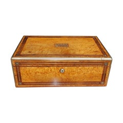 English Bird's-Eye Maple and Brass Mounted Fitted Interior Writing Desk, C. 1820