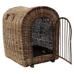 English Brown Wicker Dog Kennel