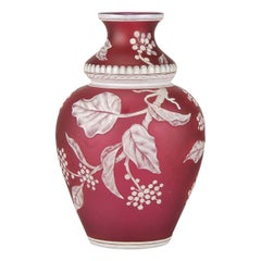English Cameo Glass Red Flower Vase by Thomas Webb
