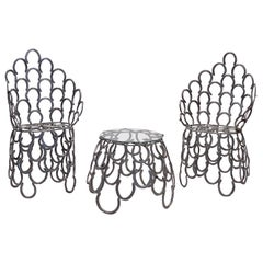 English Garden Set of Table and Two Chairs with a Horseshoe Design