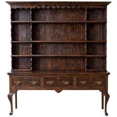 English Georgian Style Oak Welsh Cupboard Dresser