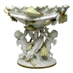 English Moore Brothers Porcelain Cream Gilt Cherub Cacti Centerpiece