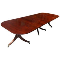 English Regency Cuban Mahogany Triple Pedestal Dining Room Table, Circa 1810