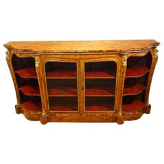 English Victorian Walnut and Kingwood Open Ended Credenza, circa 1865