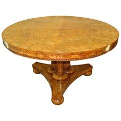 English William IV Burr Elm 19th Century Centre Table