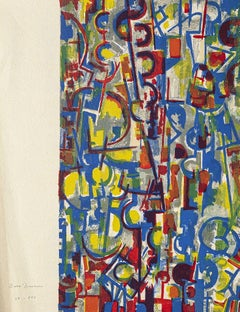 Abstract Composition - Original Scree Print and Lithograph by E. Brunori - 1955