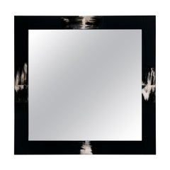 Erasmo Wall Mirror in Black Lacquered Wood with Dark Horn Inlays, Mod. 1420