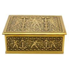 Erhard & Sons Art Nouveau Brass Repousse Tobacco or Jewelry Box Signed