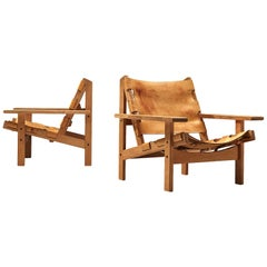 Erling Jessen Pair of Hunting Chairs in Leather and Oak