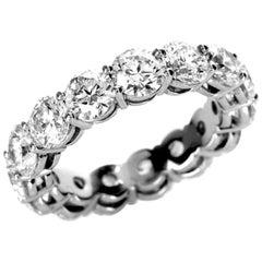 Estate 6.12 Carat GIA Diamond Eternity Platinum Wedding Band Ring