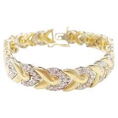 Estate White Diamond and 14 Karat Yellow and White Gold