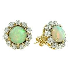 Ethiopian Opal Diamond 18 Karat Yellow Gold Earrings
