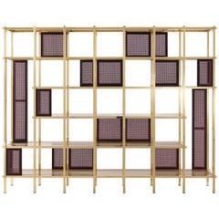 Etro Fonda Bookcase in Wood and Brass