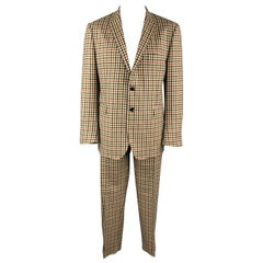 ETRO Size 48 Khaki & Brown Checkered Plaid Lana Wool Notch Lapel Suit