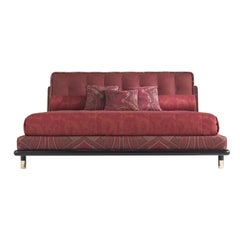 Etro Woodstock Bed in Wood, Red Paisley and Brass