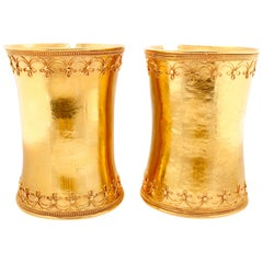 Etruscan Revival Gold Cuff Bangle Pair