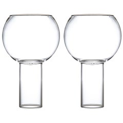 EU Clients Pair of Czech Contemporary Tulip Tall Large Wine Glasses, in Stock