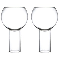 EU Clients Pair of Czech Contemporary Tulip Tall Medium Wine Glasses, in Stock