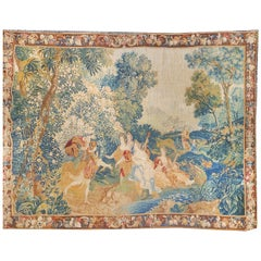 European Tapestry from 17th Century, France Verdure Love Scene by the River