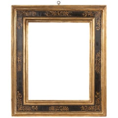 Exceptional 19th Century Carved Painted Giltwood Italian Frame or Mirror, Italy