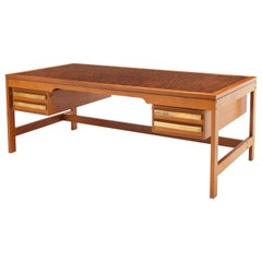 Exceptional Danish Desk by Architect Gorm Lindum, Solid End Grain Wood and Brass