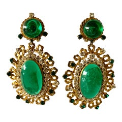 Exceptional Emerald and Diamante Statement Earrings by Maison Gripoix for Chanel