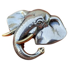 Exceptional Hermès Brooch Lapel Pin Elephant in Silver and Gold 18K RARE